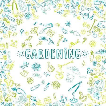 fertilizers: hand drawn garden icons background, vector illustration
