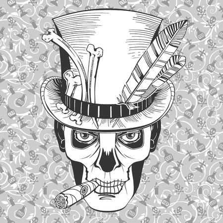 dag van de doden, afbeelding Baron Samedi, vector