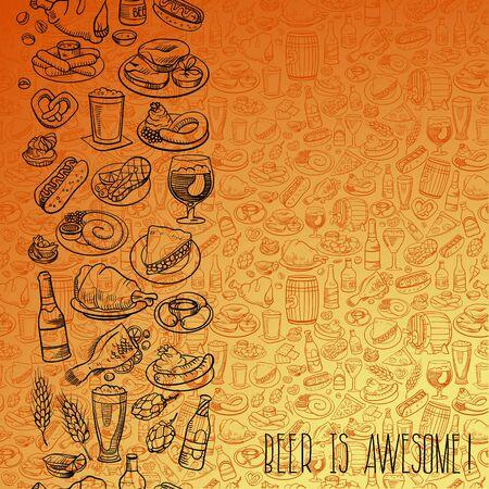 barrel tile: hand drawn beer bottles and bar food, seamless background