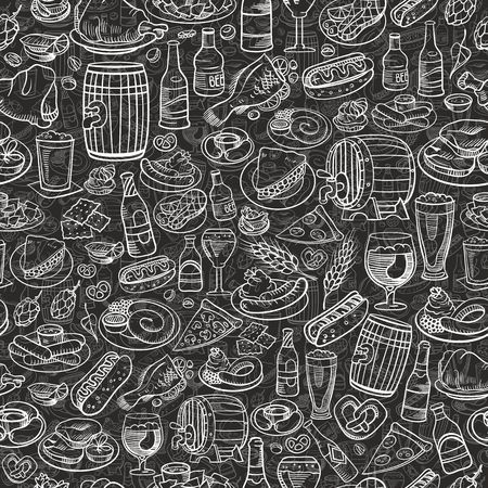 barrel: hand drawn beer bottles and bar food, seamless background