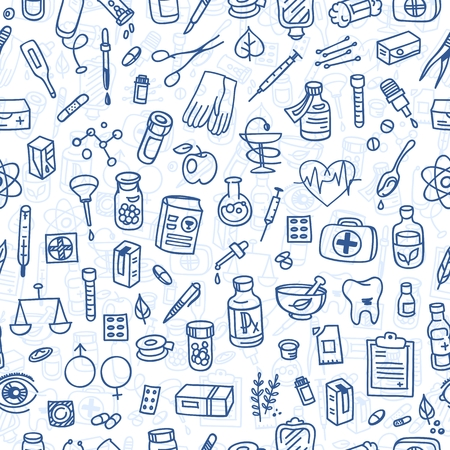 health icons: Health care doodle icons seamless background, vector