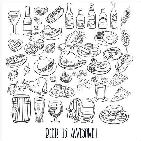 bottiglie di birra disegnati a mano e il cibo del bar Vettoriali