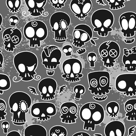 seamless pattern with different cute sketchy  skulls