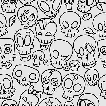 grotesque: seamless pattern with different cute sketchy skulls