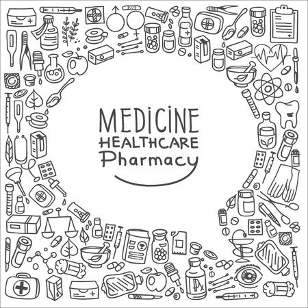 contraception: Health care doodle icons background