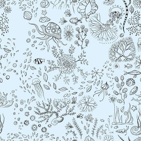 shell: underwater life with jellyfish, fish, seaweed
