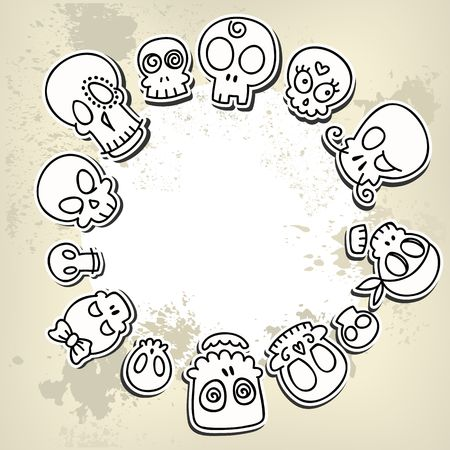 grungy background with different cute sketchy  skulls