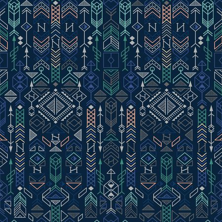 seamless ethnic pattern with native american motifs