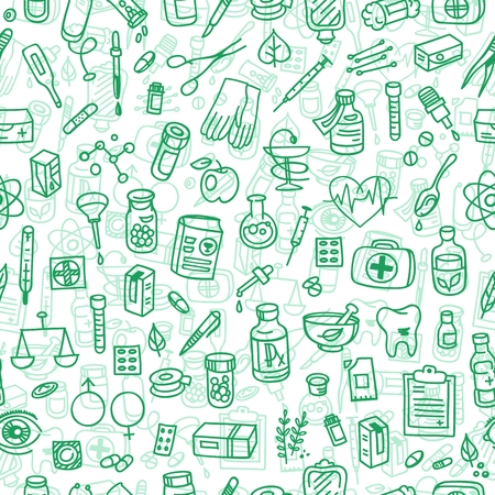 first aid box: Health care doodle icons seamless background