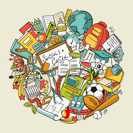 freehand school items in a pile set Illustration