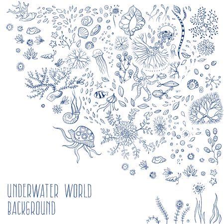 algas marinas: la vida bajo el agua con medusas, peces, algas, vector