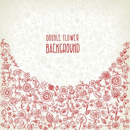 background made of hand drawn floral elements, vector illustration