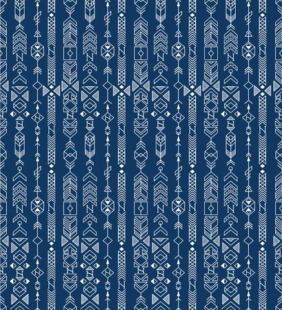 native american art: seamless ethnic pattern with native american motifs, vector