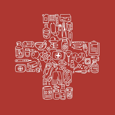 pill box: Health care doodle icons seamless background, vector