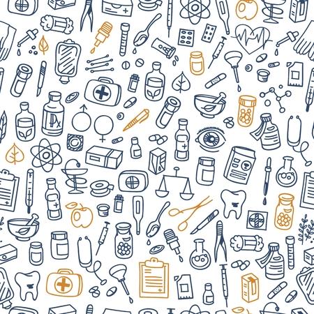 bottle of medicine: Health care doodle icons background, vector illustration Illustration