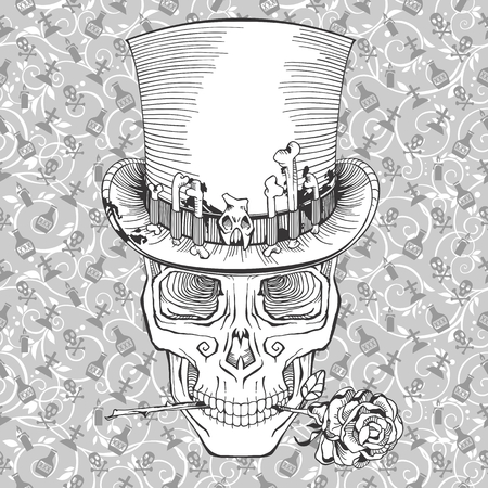 halloween tee shirt: human skull in a top hat with a rose, baron samedi Illustration