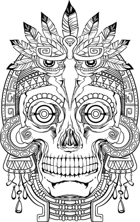 skull: black and white indian skull with jewelry, vector