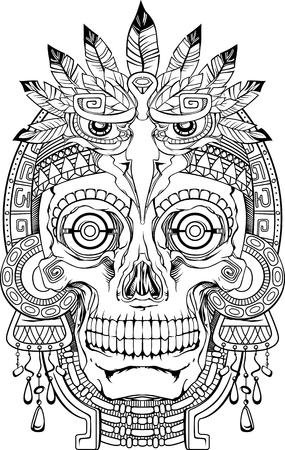 zwart en wit indian schedel met sieraden, vector