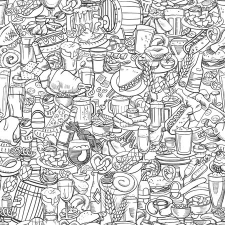 fried shrimp: sketchy beer and snacks, seamless hand drawn illustration