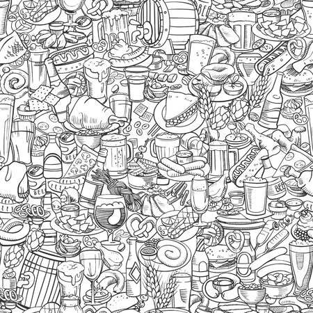 sketchy beer and snacks, seamless hand drawn illustration
