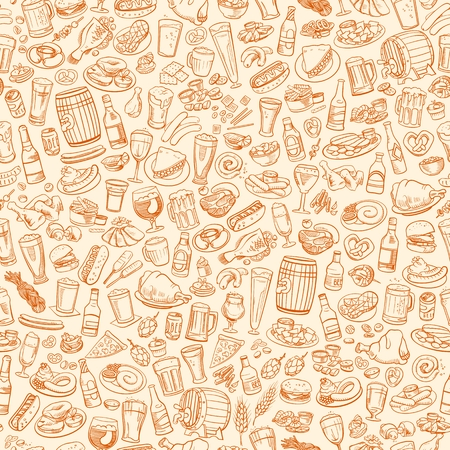 onion rings: sketchy beer and snacks, seamless hand drawn illustration