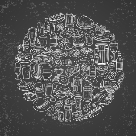 appetizers: sketchy beer and snacks, hand drawn vector background
