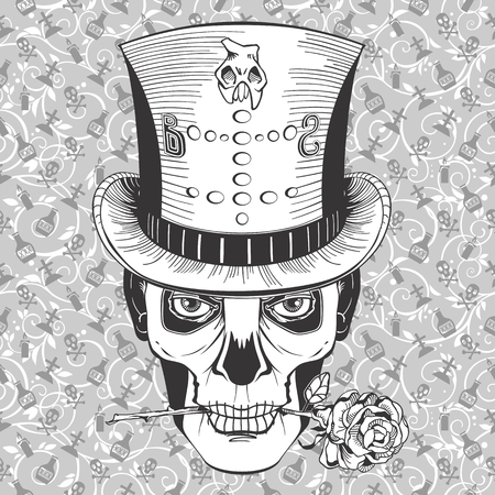 halloween tee shirt: vodoo magician face in a top hat with rose Illustration