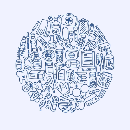 forceps: Health care doodle icons in a circle, background, vector