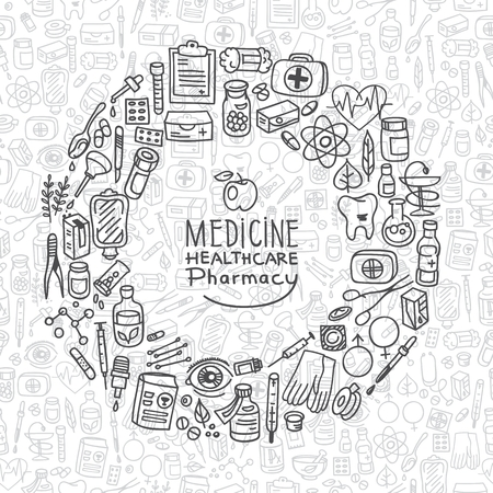 medical gloves: Health care doodle icons background