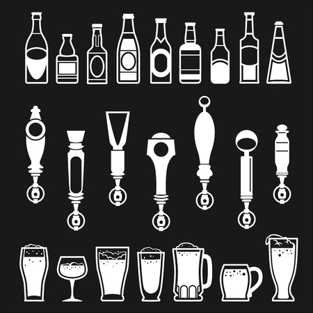 icons of bottles drinks and beer taps