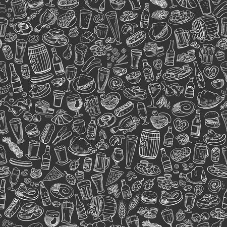 schetsmatig bier en snacks, naadloze hand getrokken illustratie