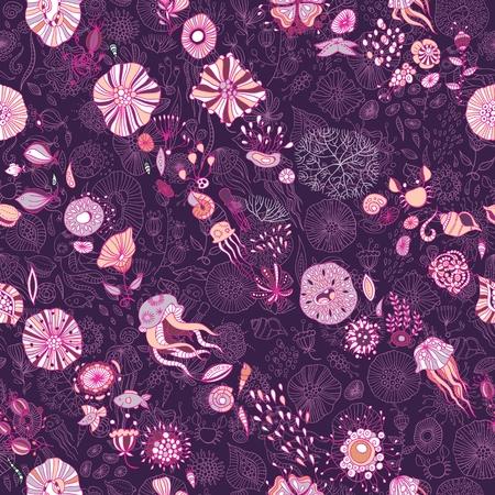 seaweed: underwater life with jellyfish, fish, seaweed, vector
