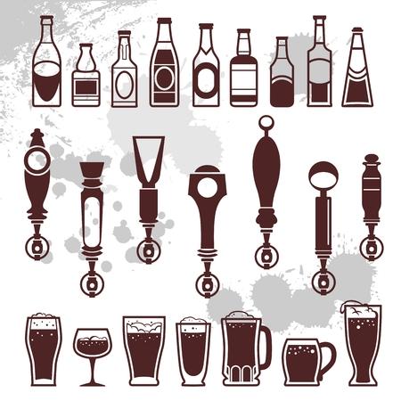 iconen van flessen drank en bier kranen