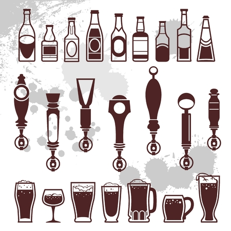 lager beer: icons of bottles drinks and beer taps