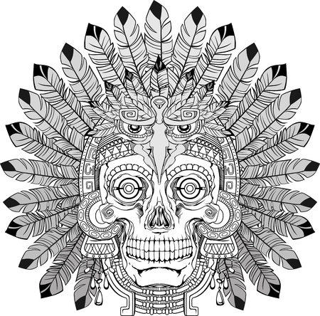 jewelry vector: black and white indian skull with jewelry, vector