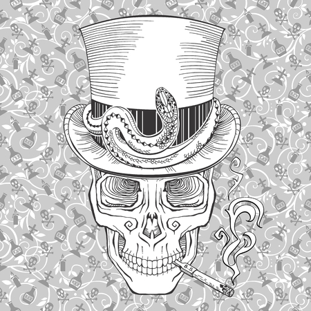 all saint day: cool looking smoking skull in a top hat