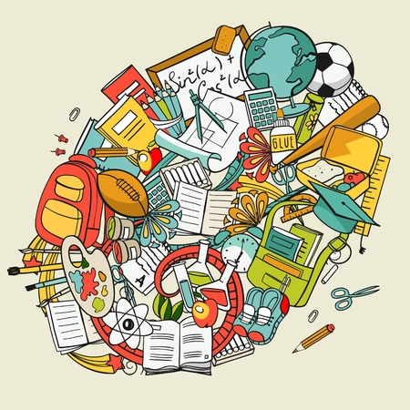 freehand school items in a pile, vector set Illustration