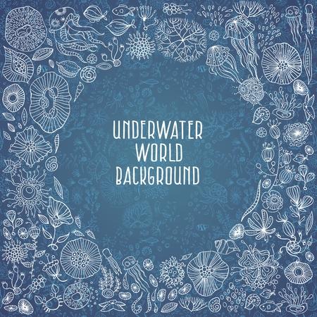 sea creatures: underwater life with different sea creatures, vector Illustration