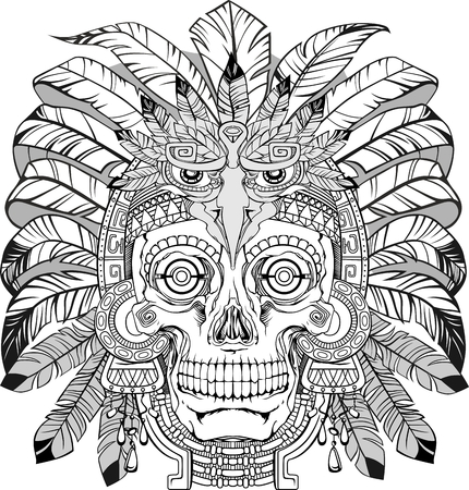 black and white skull of native american with jewelry, vector Illustration