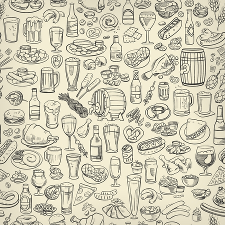appetizers: sketchy beer and snacks, seamless hand drawn illustration