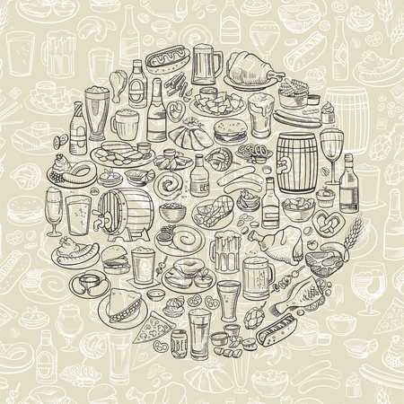 fried chicken wings: sketchy beer and snacks, hand drawn vector background