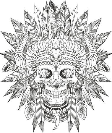 indios americanos: cráneo del nativo americano en tocado jefe
