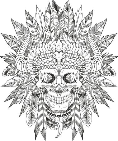 skull design: skull of native american in chief headdress