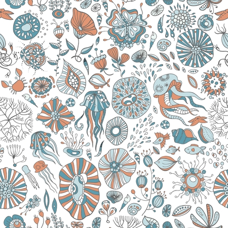 ocean life: hand drawn underwater world, abstract ocean life, seamless background