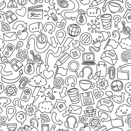 shopping questions: hand drawn social network symbols, seamless vector background Illustration