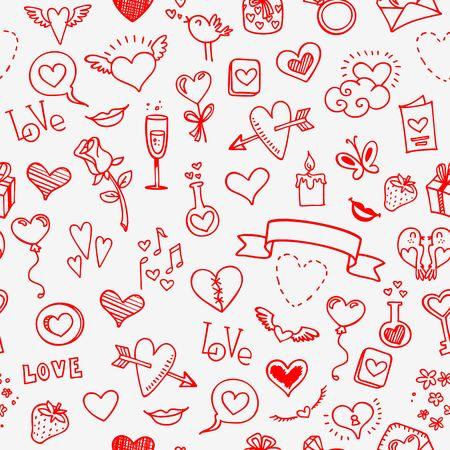 liefde en harten krabbels, naadloze achtergrond, vector Stock Illustratie