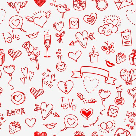 love and hearts doodles, seamless background, vector