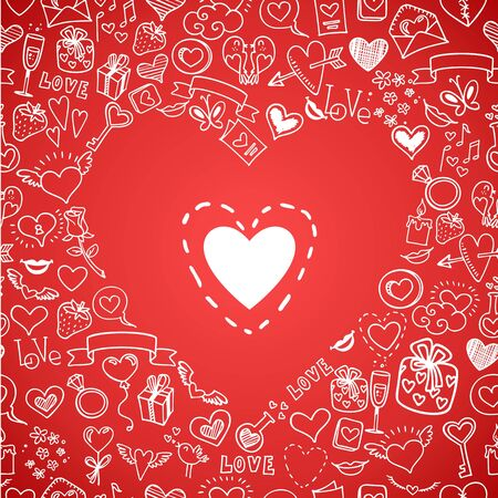 romance love: love, romance and hearts doodles, vector background