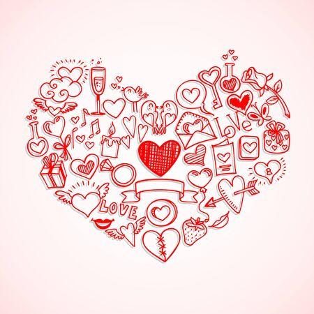 sketchy love and hearts doodles, vector illustration Illustration