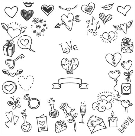 sketchy love and hearts doodles, vector illustration Çizim